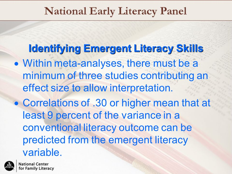 Identifying Emergent Literacy Skills