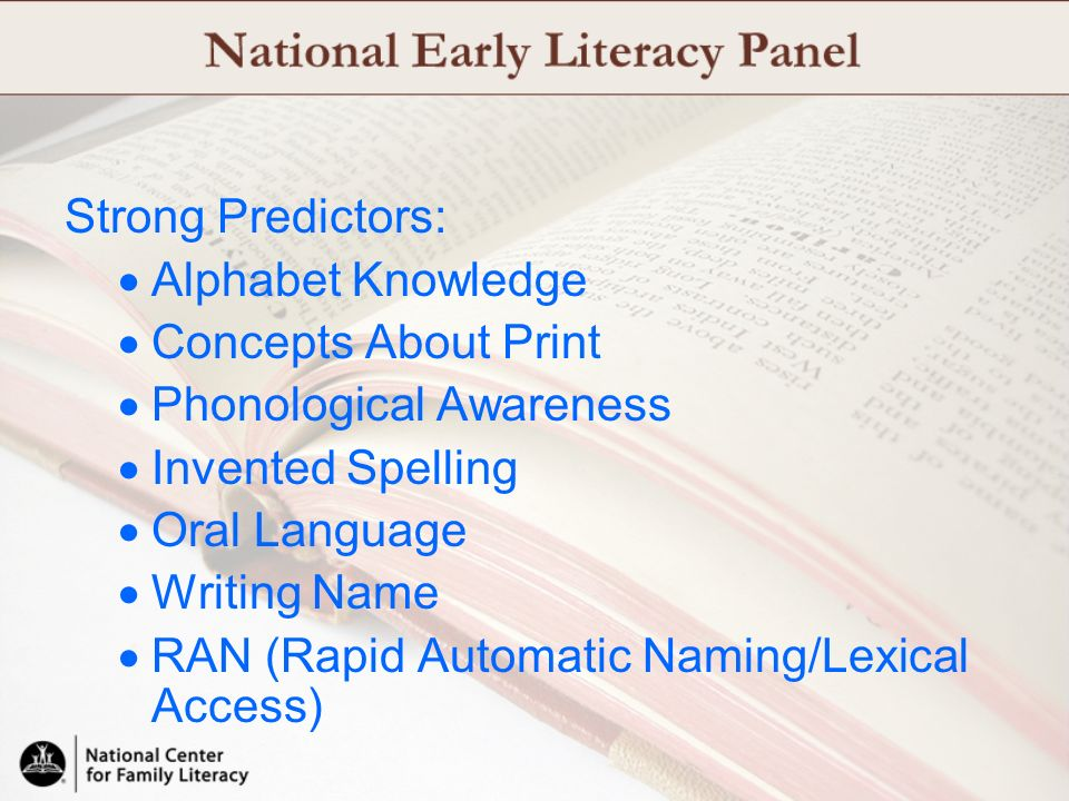 Strong Predictors: Alphabet Knowledge. Concepts About Print. Phonological Awareness. Invented Spelling.