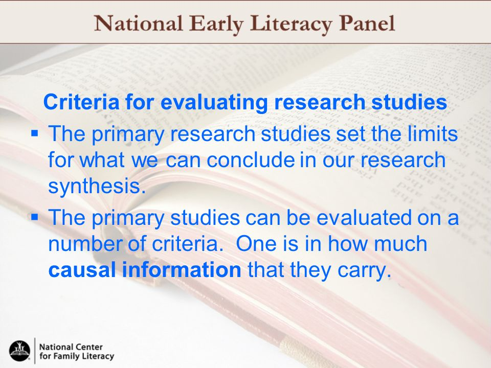 Criteria for evaluating research studies