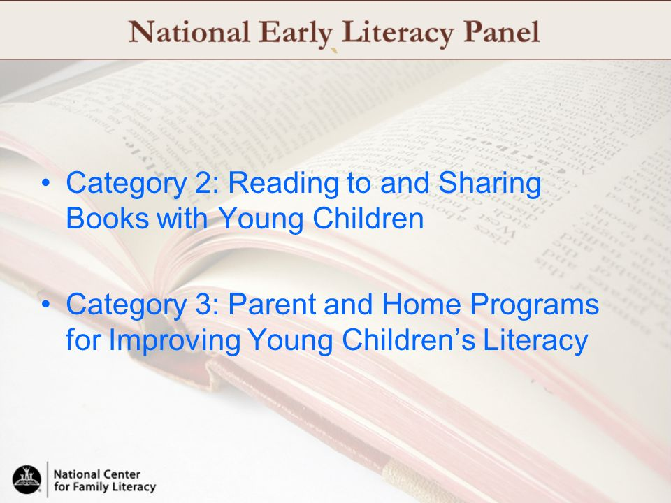 ` Category 2: Reading to and Sharing Books with Young Children