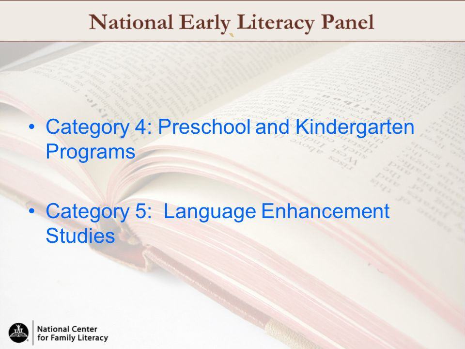 ` Category 4: Preschool and Kindergarten Programs