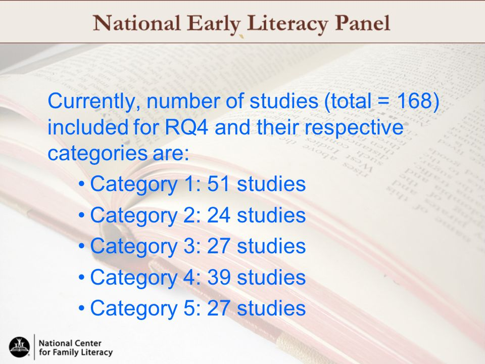 ` Currently, number of studies (total = 168) included for RQ4 and their respective categories are: Category 1: 51 studies.