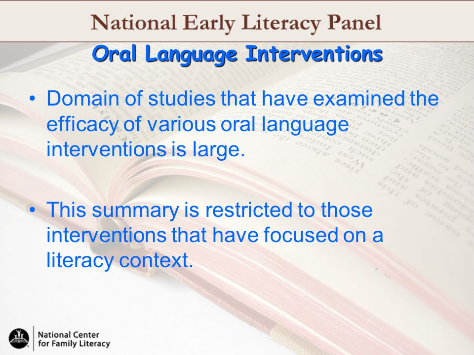 Oral Language Interventions