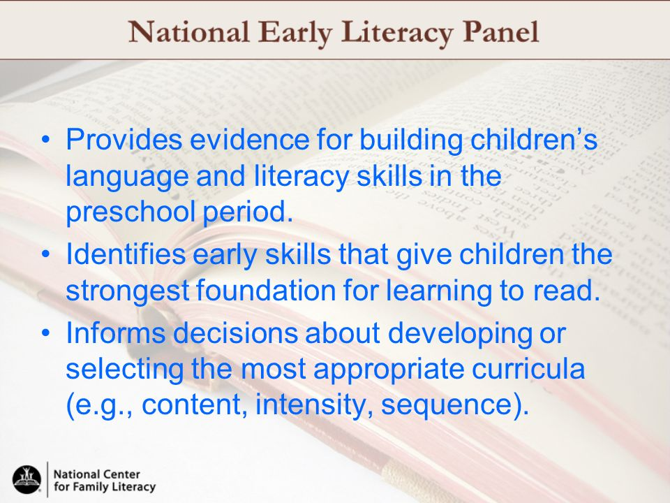 Provides evidence for building children's language and literacy skills in the preschool period.