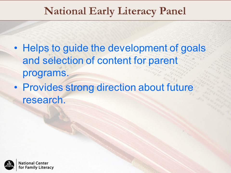 Helps to guide the development of goals and selection of content for parent programs.