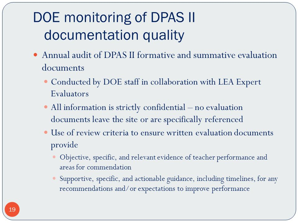 DOE monitoring of DPAS II documentation quality