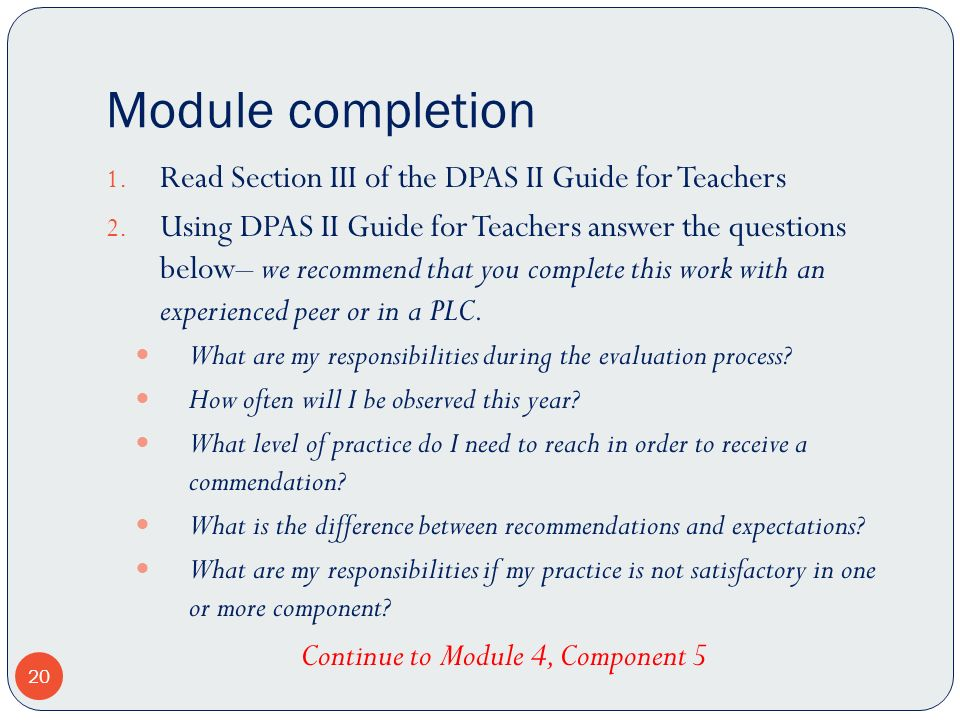 Continue to Module 4, Component 5