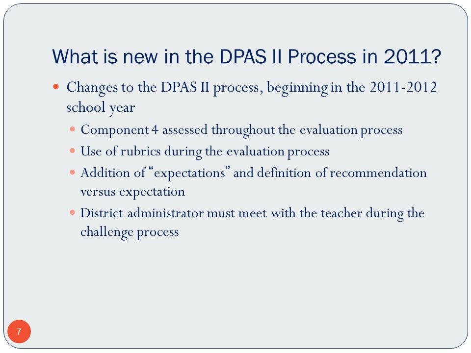 What is new in the DPAS II Process in 2011