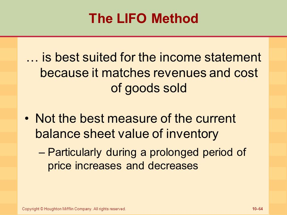 analysis of the lifo inventory valuation Due to lifo method of inventory, the value of remaining inventory is considered lower than present market value/ replacement value of that inventory thus in inflationary conditions, lifo method results in a lower valuation of stock on the balance sheet than extent replacement value.