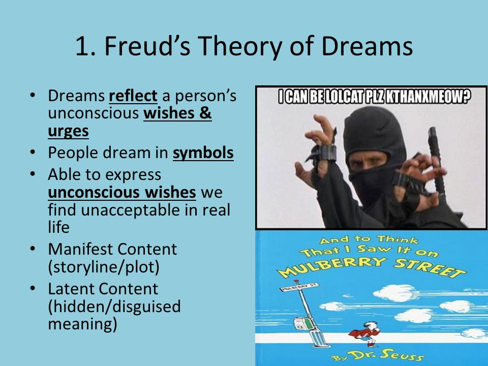 freud dream theory Advertisements: read this article to get information on sigmund freud theory of dreams freud's viewpoints: a comparison with earlier concepts of dream.