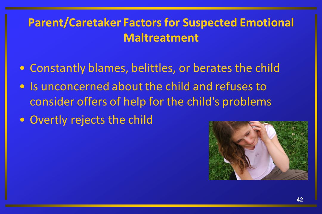 Parent/Caretaker Factors for Suspected Emotional Maltreatment