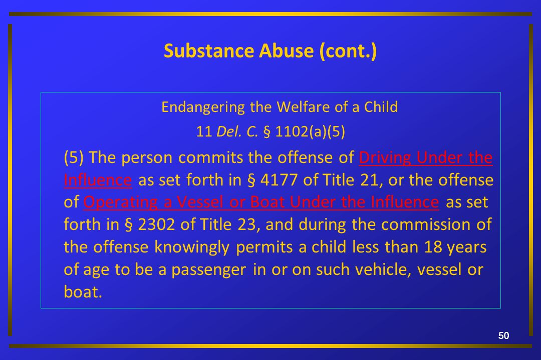 Substance Abuse (cont.)