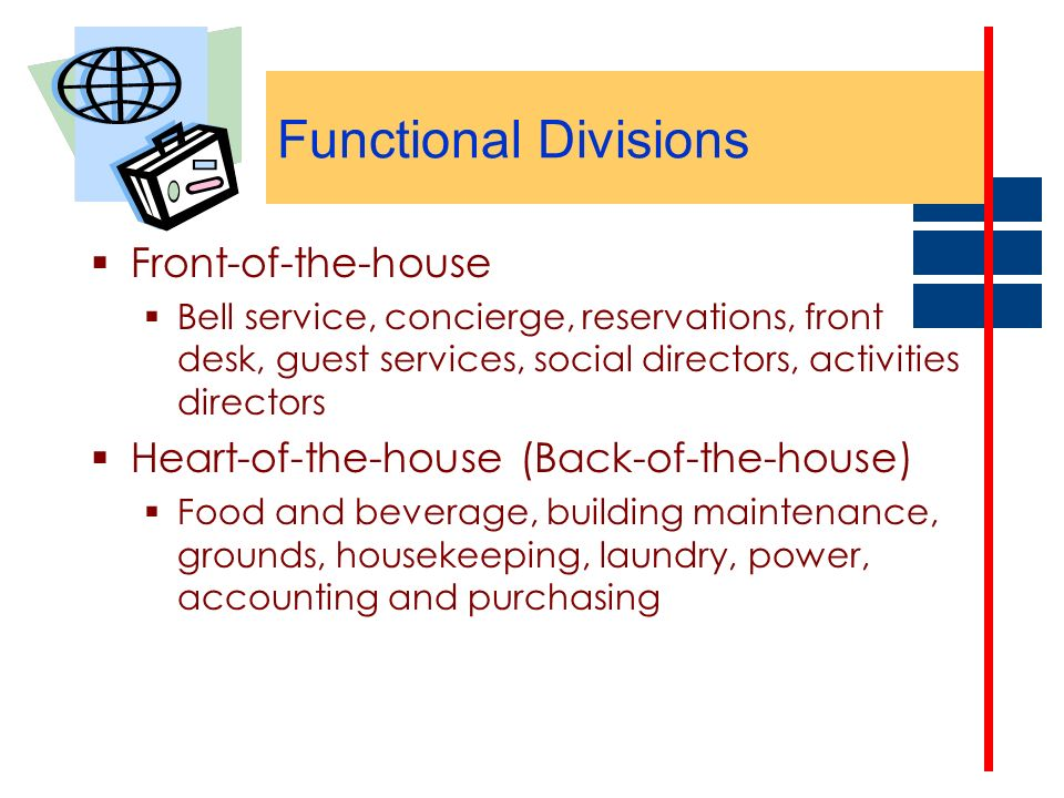 Functional Divisions Front-of-the-house