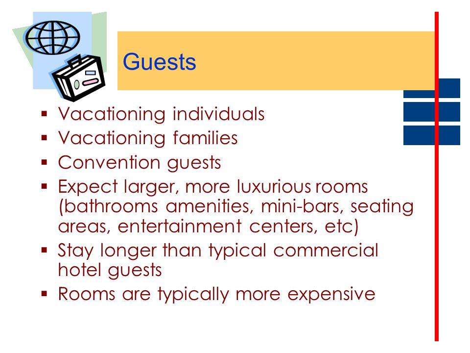 Guests Vacationing individuals Vacationing families Convention guests