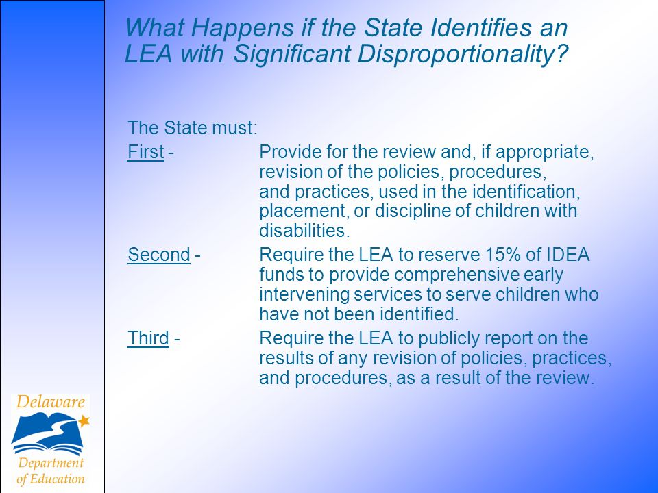 What Happens if the State Identifies an LEA with Significant Disproportionality