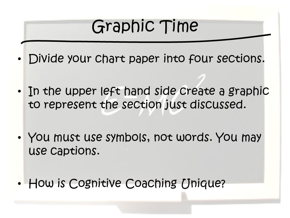 Graphic Time Divide your chart paper into four sections.