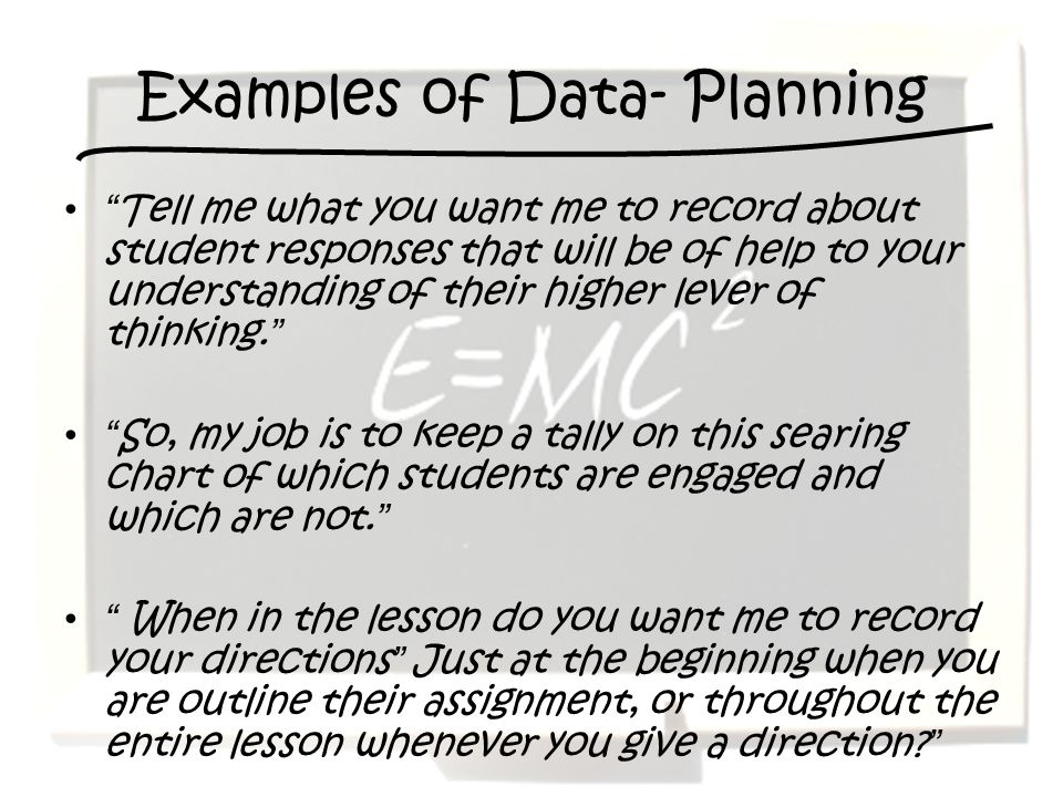 Examples of Data- Planning