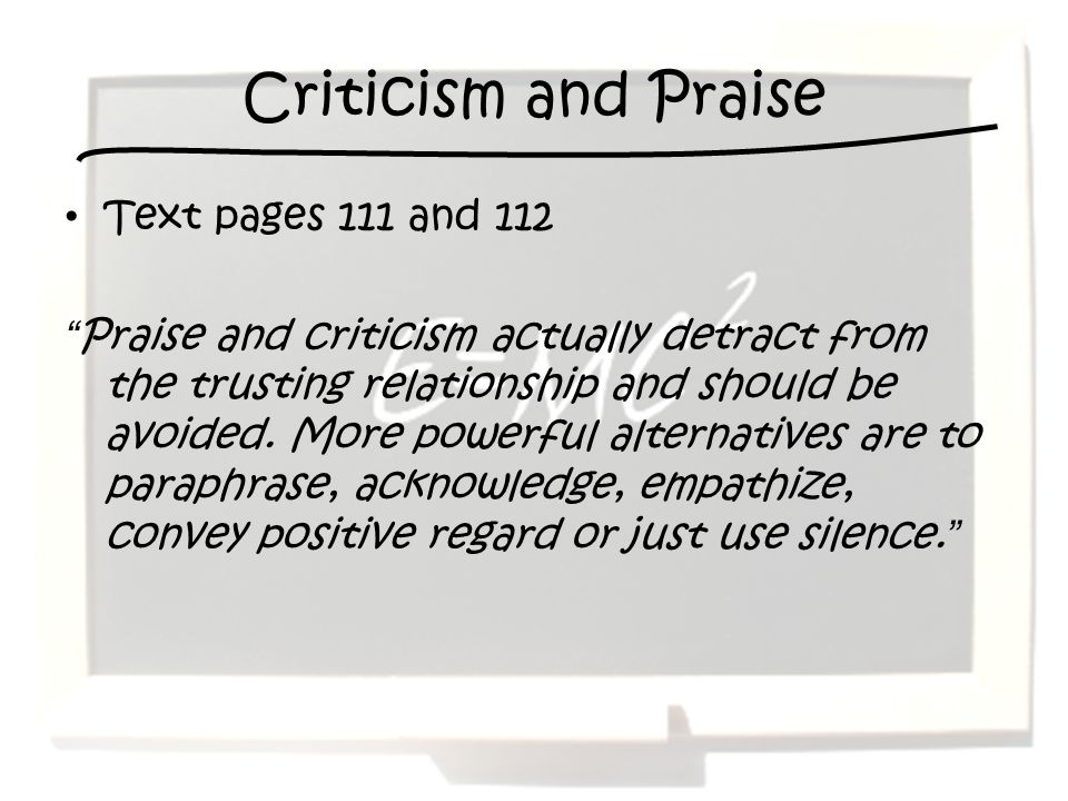 Criticism and Praise Text pages 111 and 112