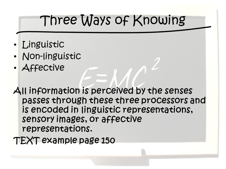 Three Ways of Knowing Linguistic Non-linguistic Affective