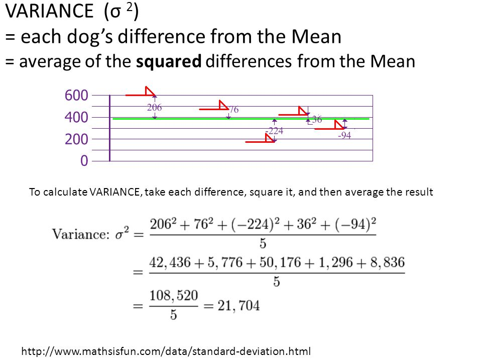 Mean variance standard deviation ppt download variance 2 each dogs difference from the mean average of the 5 standard deviation ccuart Choice Image