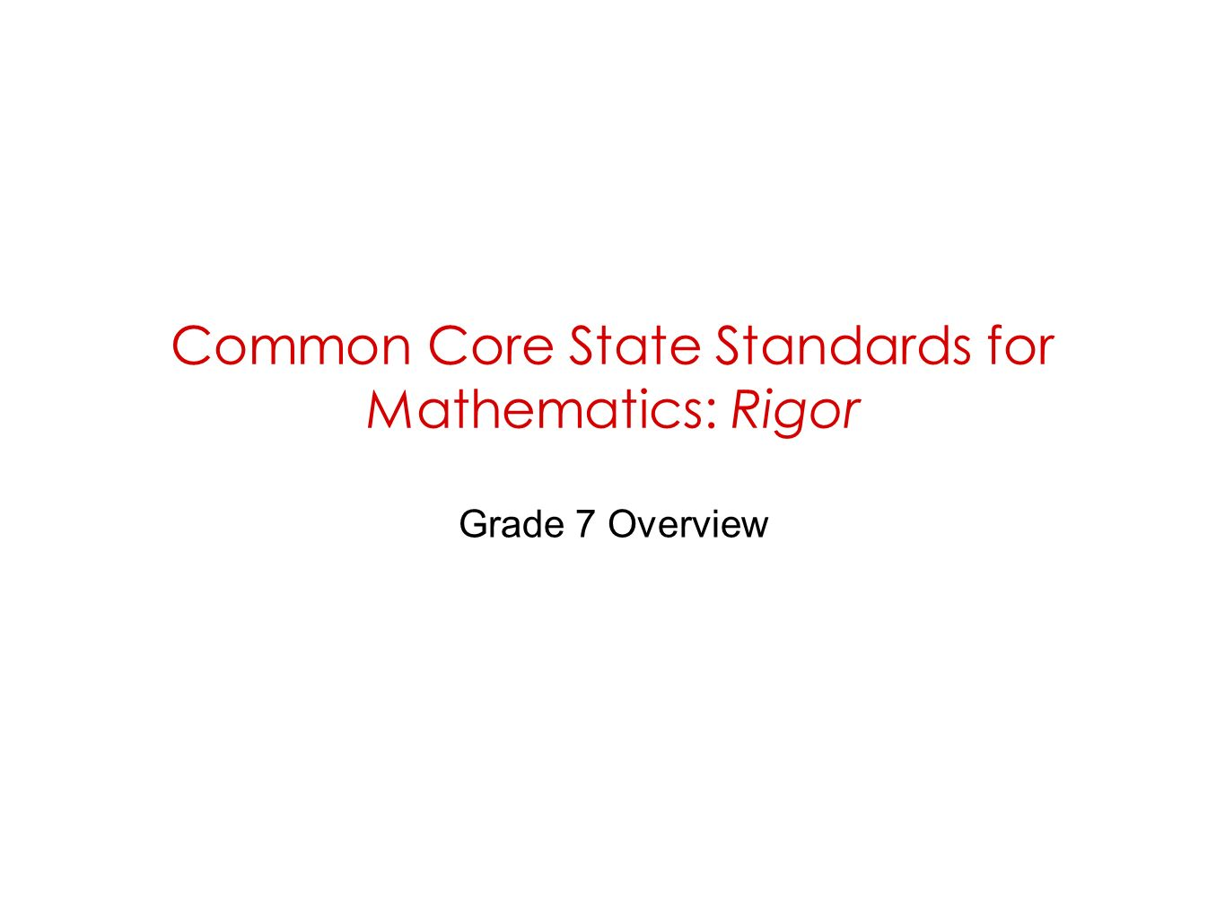 Common Core State Standards for Mathematics: Rigor