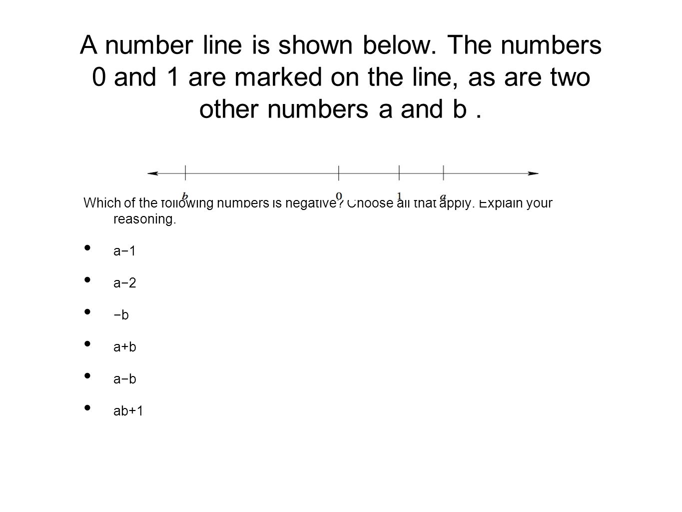 A number line is shown below
