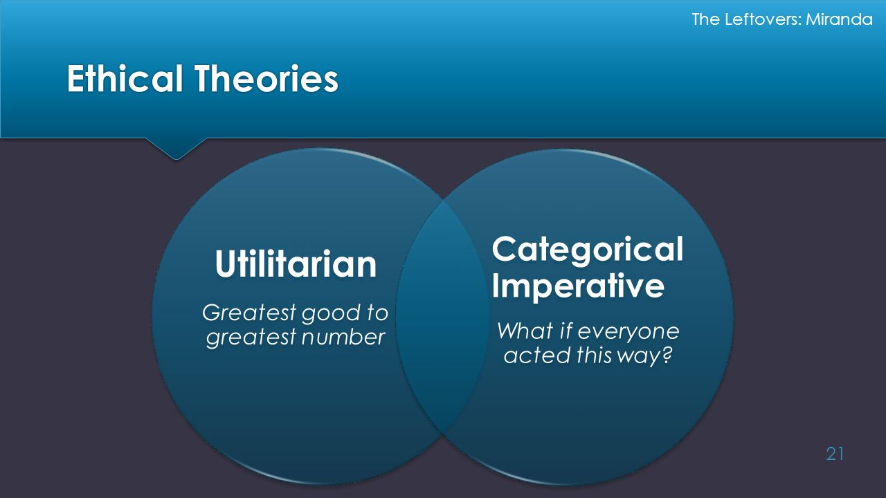 Ethical Theories Utilitarian Categorical Imperative