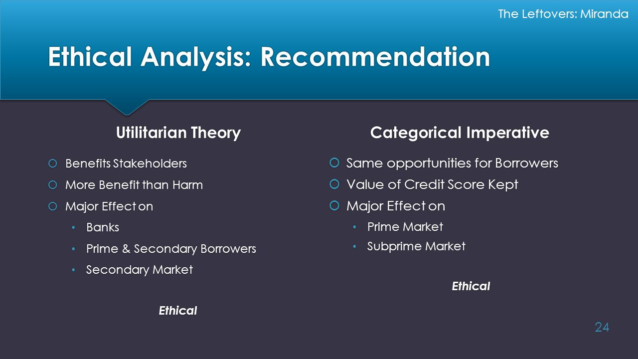 Ethical Analysis: Recommendation