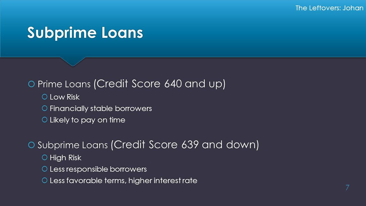 Subprime Loans Prime Loans (Credit Score 640 and up)