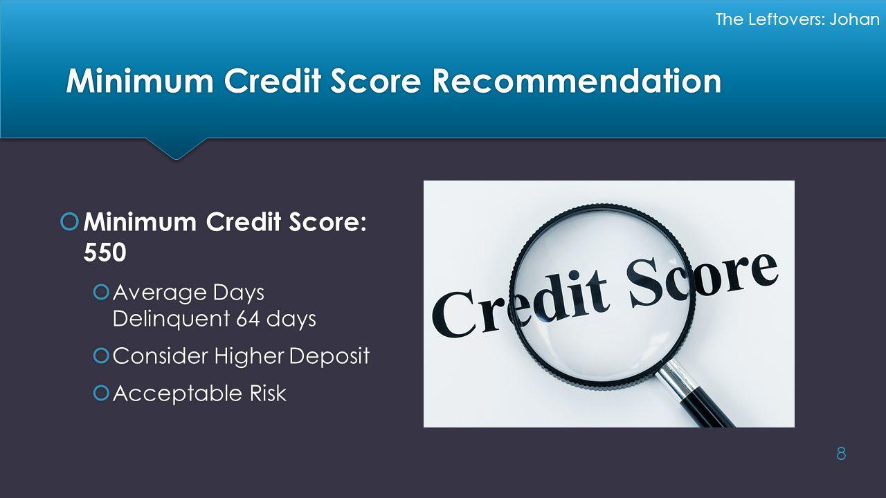 Minimum Credit Score Recommendation
