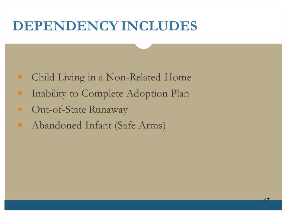 DEPENDENCY INCLUDES Child Living in a Non-Related Home