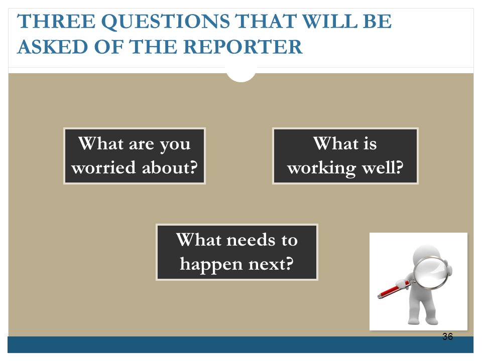 THREE QUESTIONS THAT WILL BE ASKED OF THE REPORTER