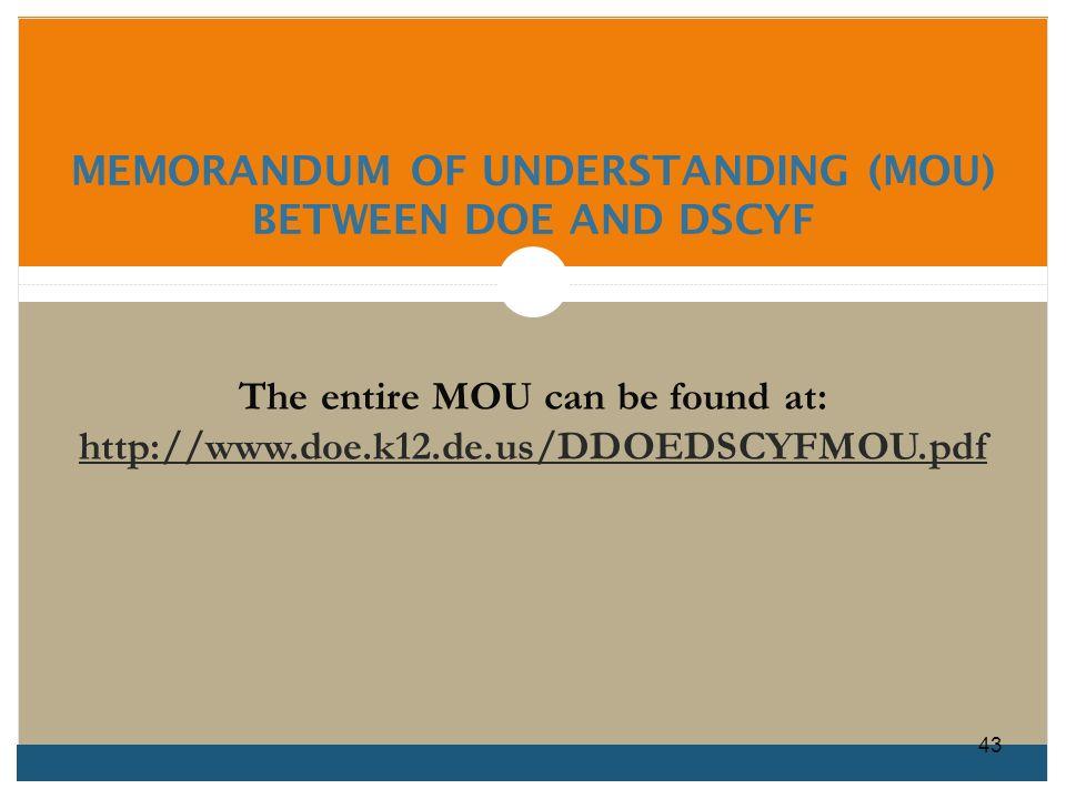 MEMORANDUM OF UNDERSTANDING (MOU) BETWEEN DOE AND DSCYF