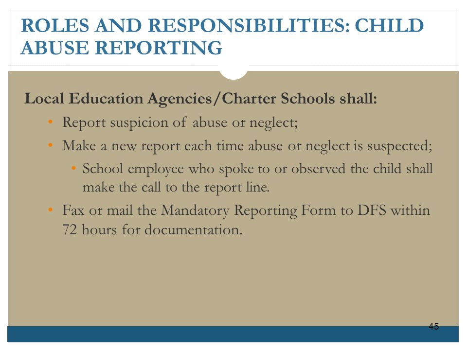 ROLES AND RESPONSIBILITIES: CHILD ABUSE REPORTING