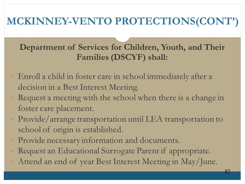 MCKINNEY-VENTO PROTECTIONS(CONT')