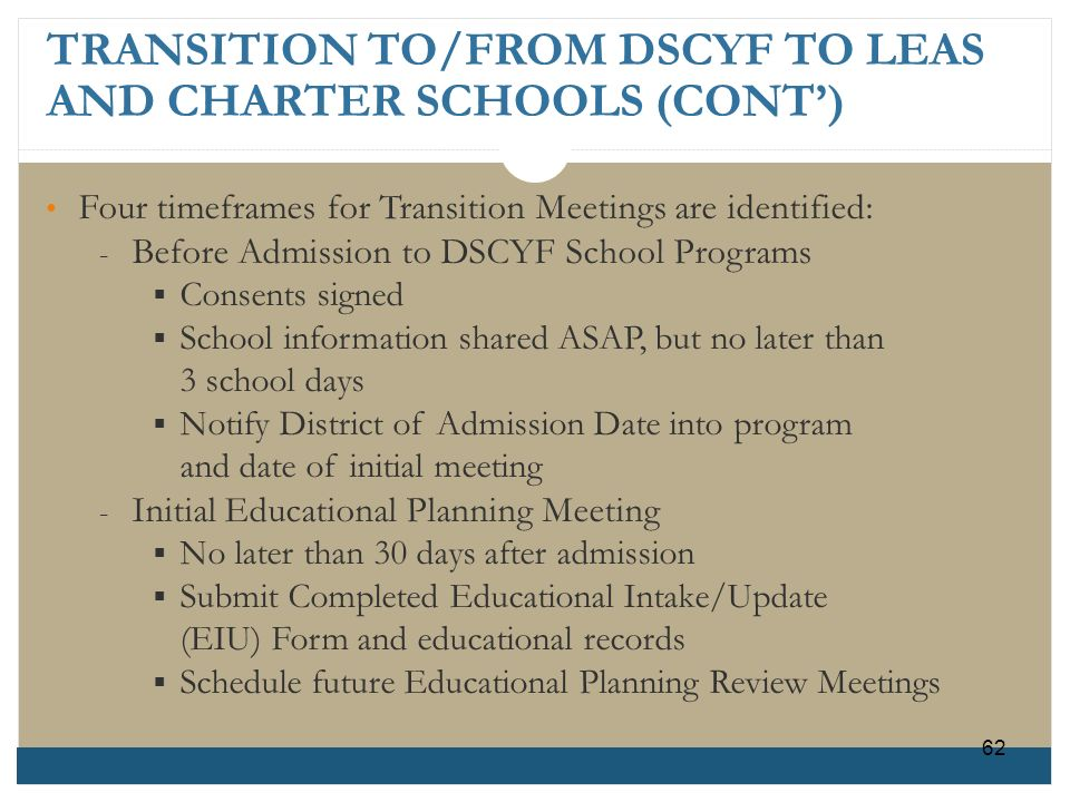 TRANSITION TO/FROM DSCYF TO LEAS AND CHARTER SCHOOLS (CONT')