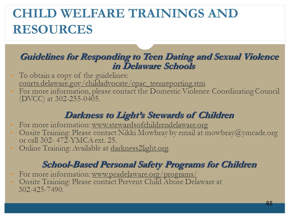 CHILD WELFARE TRAININGS AND RESOURCES