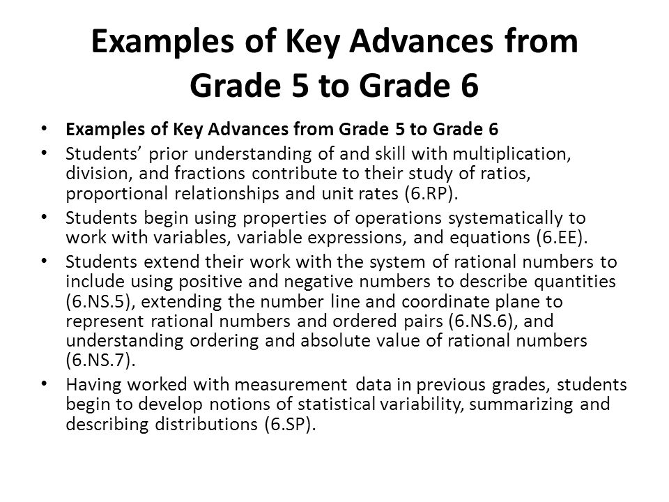 Examples of Key Advances from Grade 5 to Grade 6