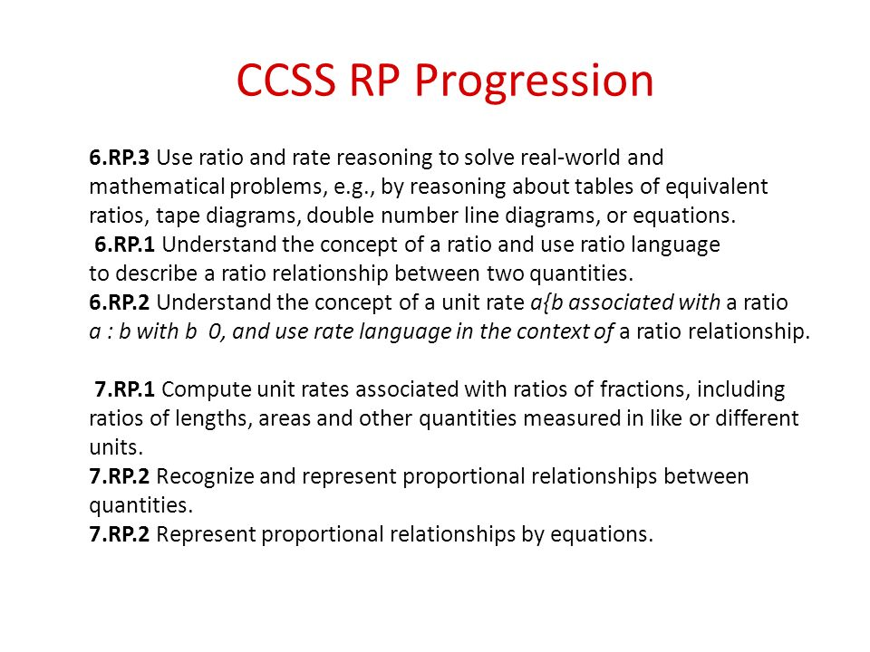 CCSS RP Progression 6.RP.3 Use ratio and rate reasoning to solve real-world and.