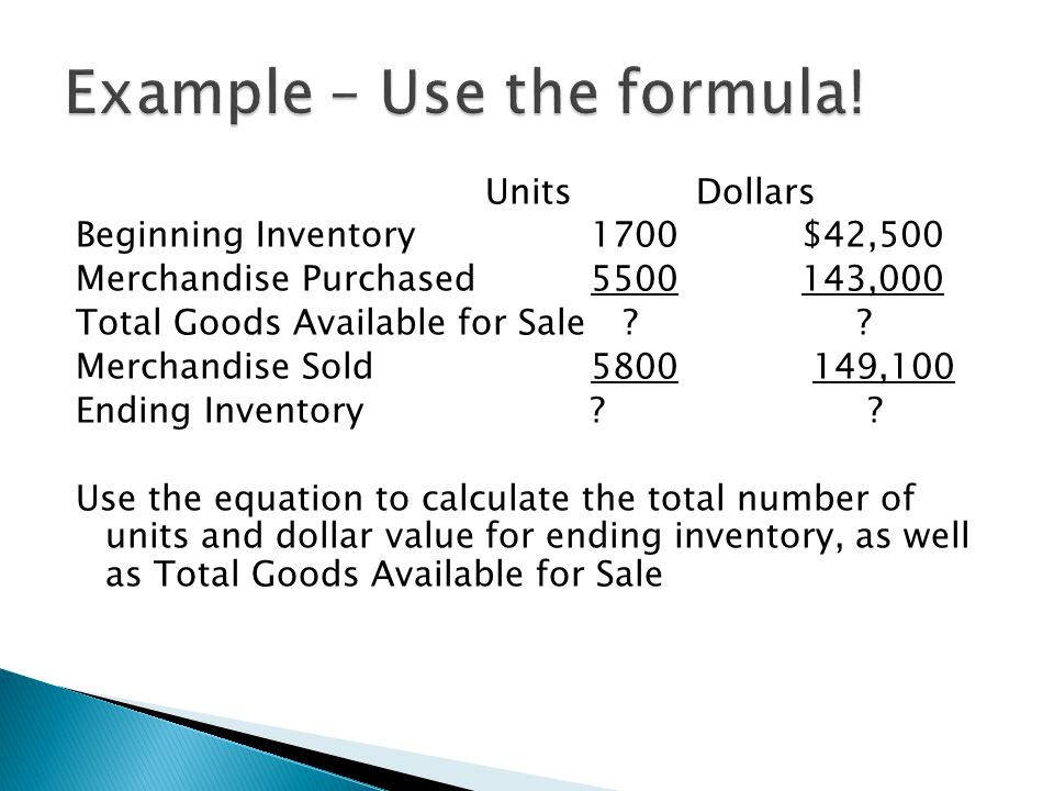 how to find units sold in accounting