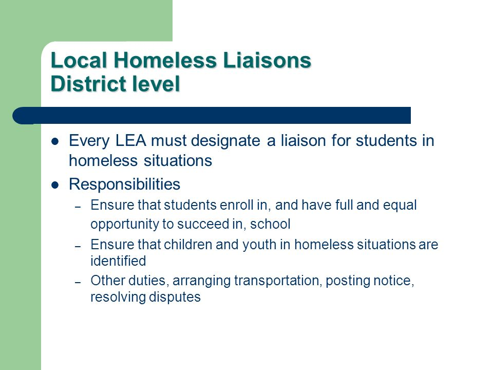 Local Homeless Liaisons District level