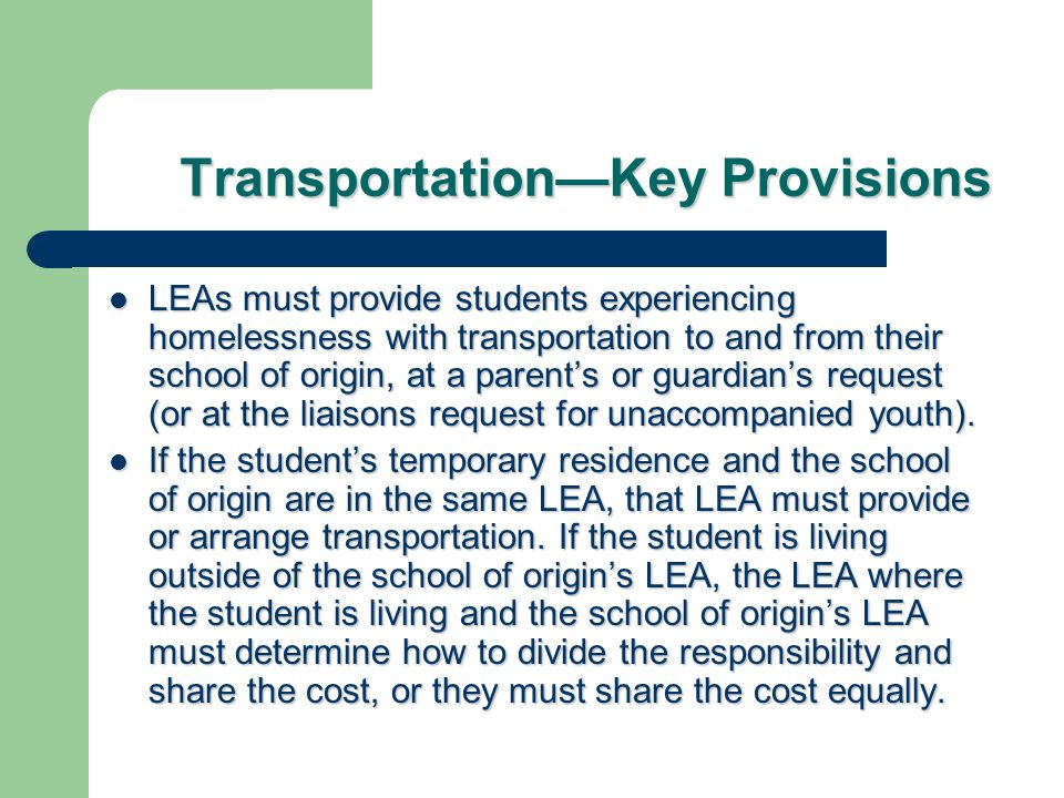 Transportation—Key Provisions