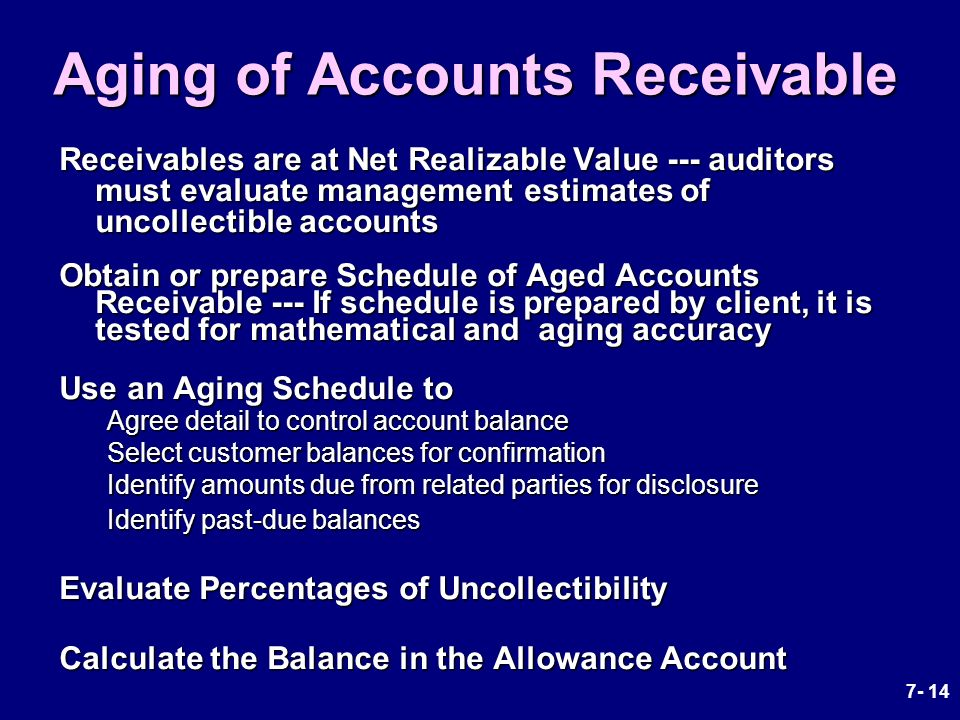 aging schedule of accounts receivable A viewer asked my help in building an a/r aging report she wants to see the total for invoices that are past due 1 - 30 days, 31-60 days, etc in this vid.