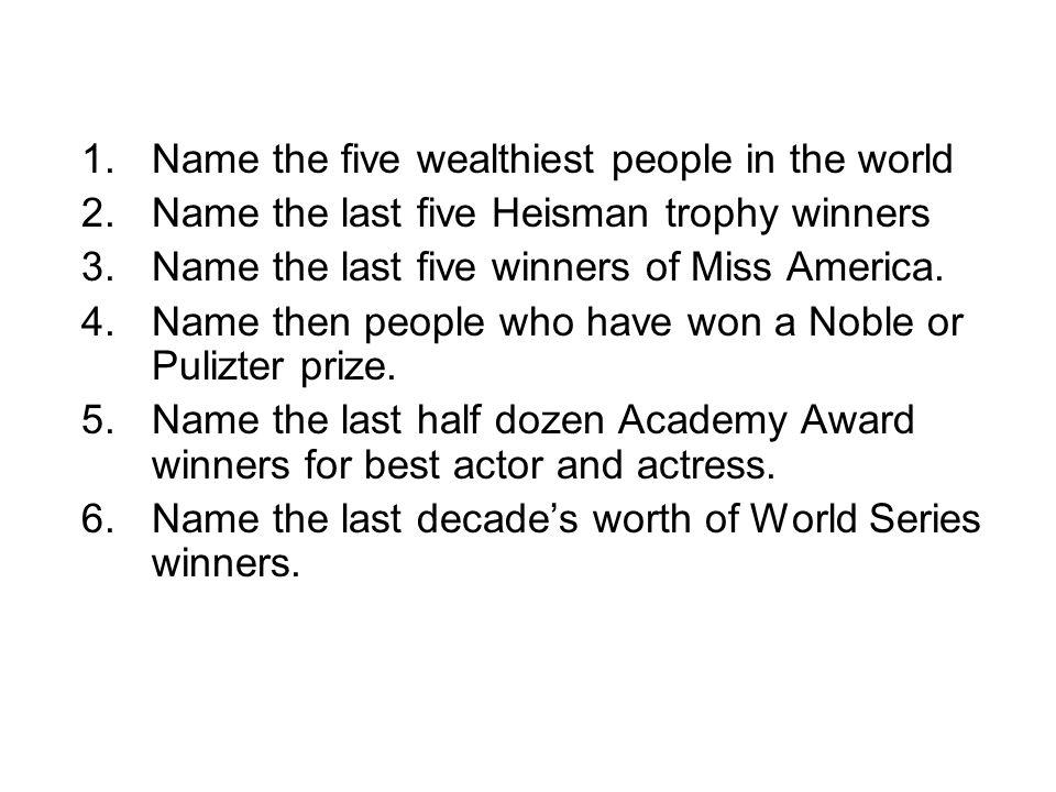 Name the five wealthiest people in the world