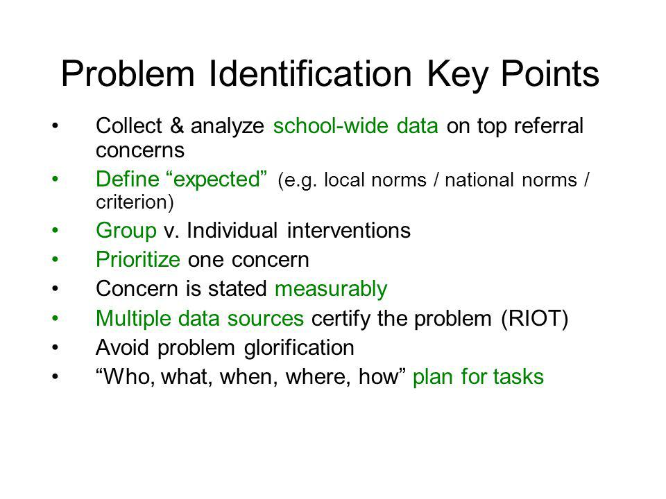 Problem Identification Key Points