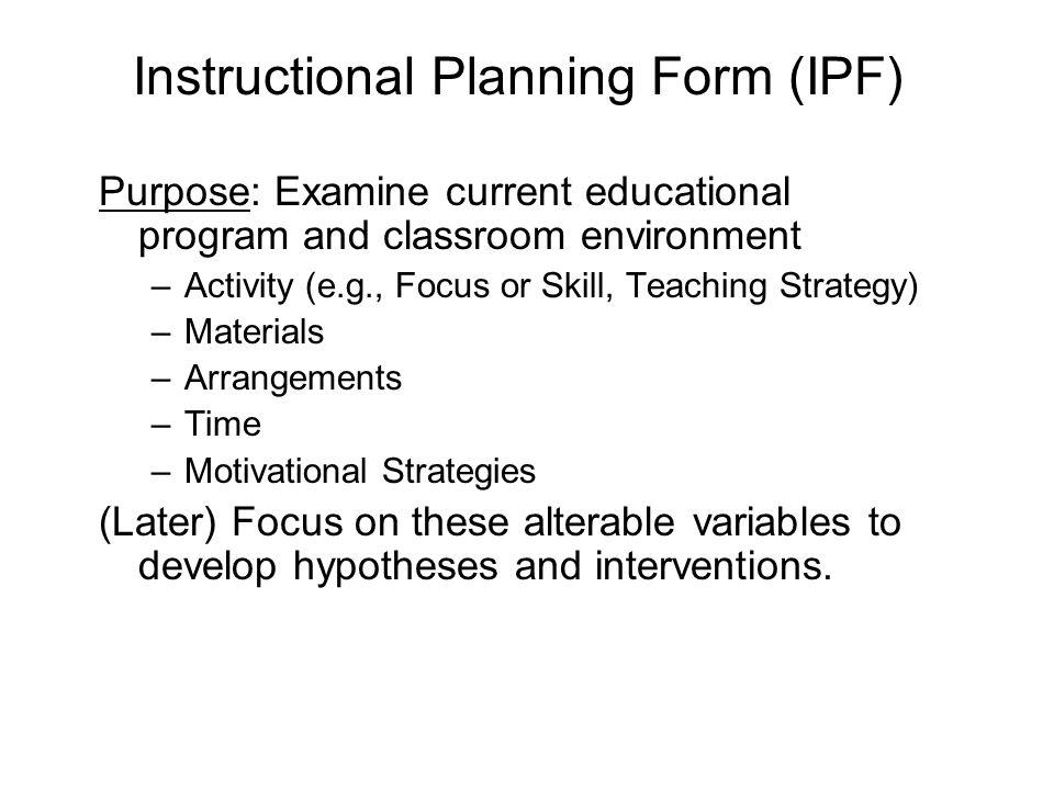 Instructional Planning Form (IPF)