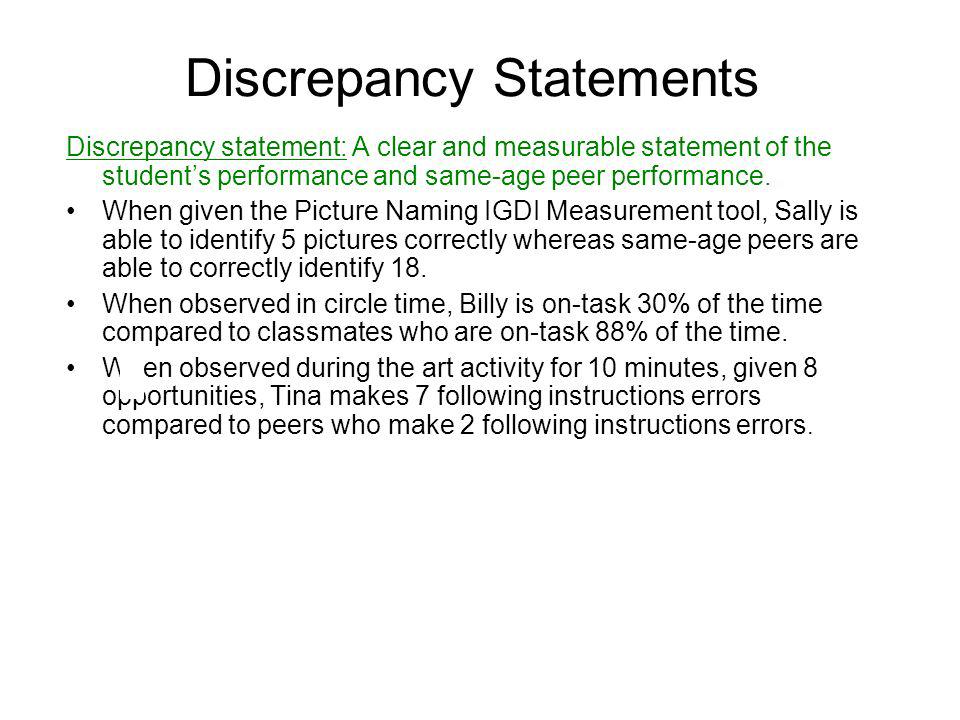 Discrepancy Statements