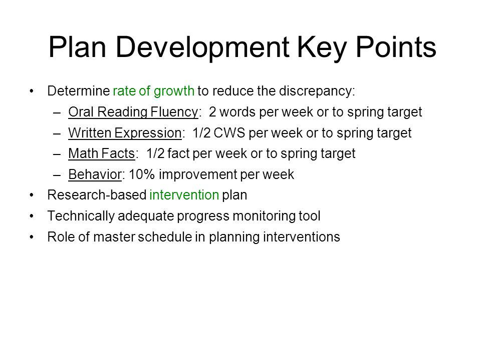 Plan Development Key Points