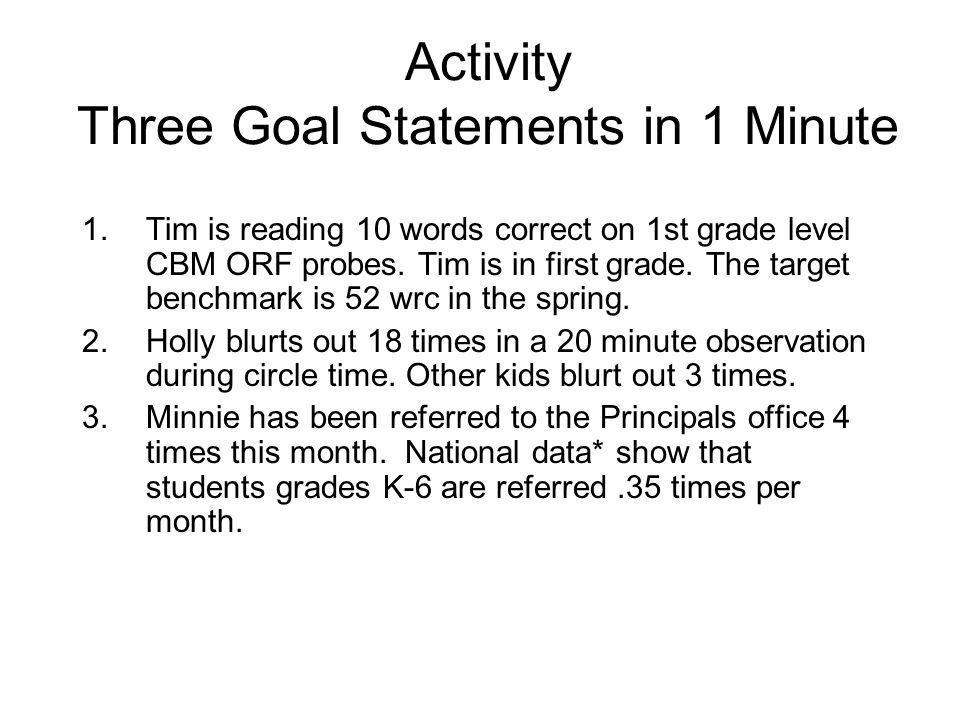Activity Three Goal Statements in 1 Minute