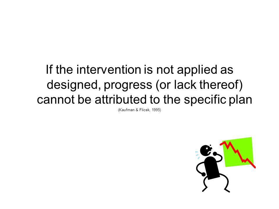 If the intervention is not applied as designed, progress (or lack thereof) cannot be attributed to the specific plan
